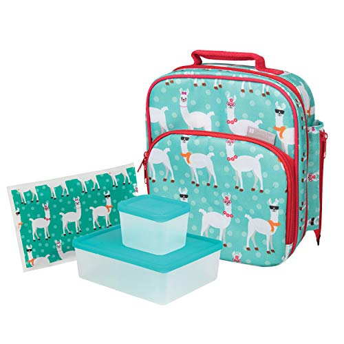 Bentology Lunch Bag Kit - Durable Insulated Tote Bag with Handle and Bottle Holder Set Includes 2 Containers & Ice Pack - BPA & PVC Free - Llama
