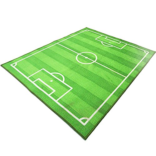 (HUAHOO Funs Soccer Field Ground Area Rug Sports Rug Playroom Carpet Kids Area Play Rug Green Football Pitch Rug (100x130cm(39''x51'')))