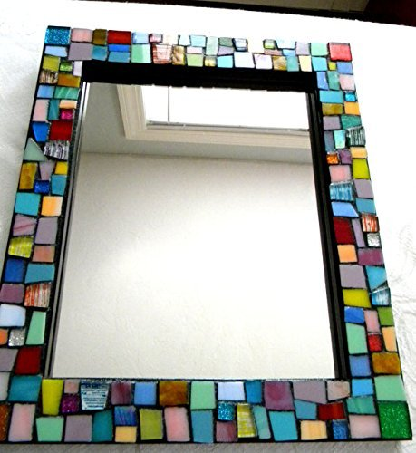 Jewel Colors - Stained Glass Mosaic Mirror - Medium Size