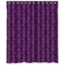 Purple Flower Pattern Bathroom Fabric Shower Curtain