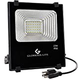 Glorious-LITE LED Flood Light, 20W(100W Halogen Equiv) Outdoor Led Floodlight, IP66 Waterproof Outdoor Work Lights, 6500K Daylight White, 1600lm, 110V(with Plug)