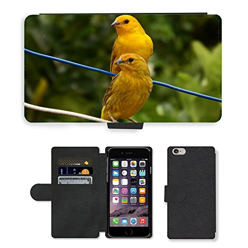 Just Phone Cases PU Leather Flip Custodia Protettiva Case Cover per // M00128488 Canaries Oiseaux Tropicaux Oiseau // Apple iPhone 6 PLUS 5.5""