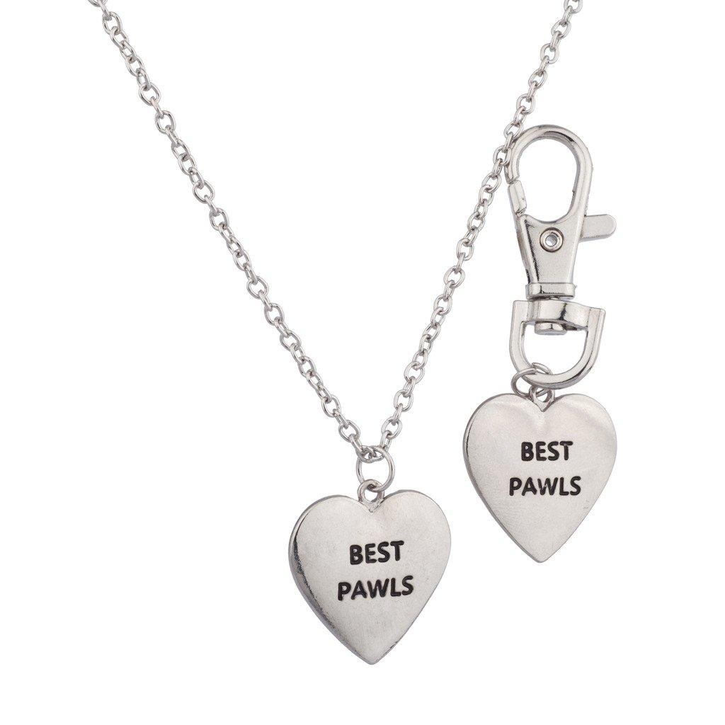 Lux Accessories Best Pawls Pals BFF Dog Collar Keychain Matching Owner Necklace Set