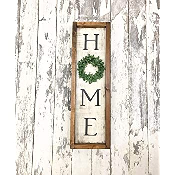 2e0e73b377cac Amazon.com: Rustic Home Sign Front Door Sign Home Wreath Rustic Home ...