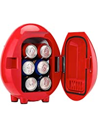Smad Portable Mini Fridge Personal 6-Can Beverage Refrigerator Car Cooler/Warmer 12V/110V, Red
