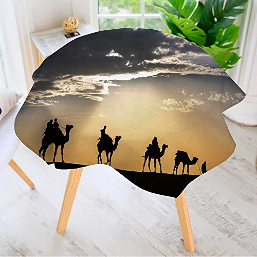 Leighhome Easy-Care Cloth Tablecloth Round- Camel Caravan Silhouette Through The Sand Dunes Lead Nose at Thar Desert India Great for Buffet Table, Parties, Holiday Dinner & More 47.5