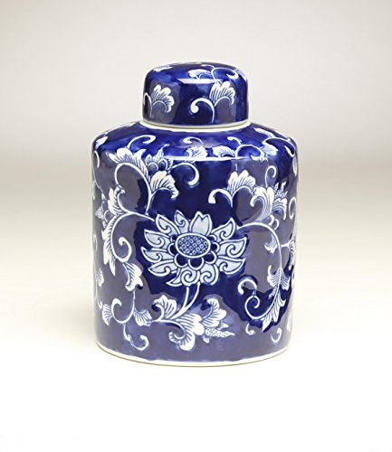 AA Importing 59942 8 Inch Blue & White Ginger Jar