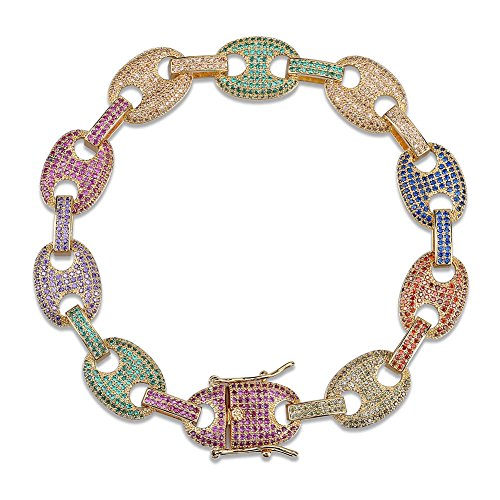 SHINY.U Hip Hop 12mm 7'',8'' 14K Gold Plated Rainbow Iced Out CZ Marine Link Bling Bracelet for Men (8