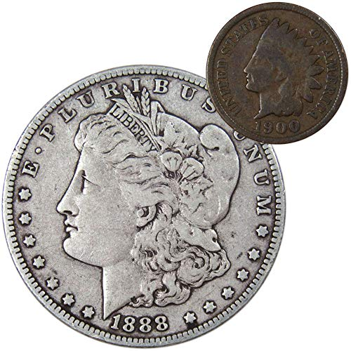 1888 Morgan Silver Dollar F-Fine with 1900 Indian Head Cent Good