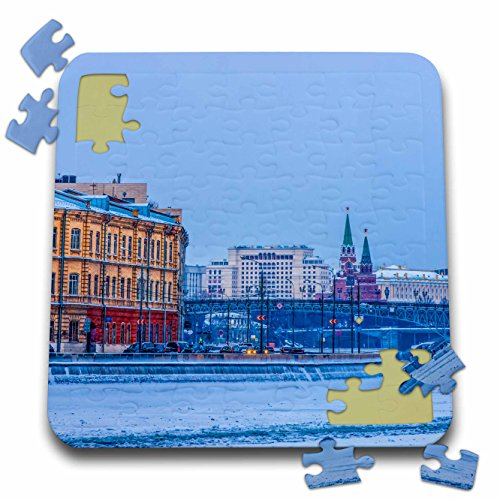 Alexis Photography - Moscow City - Moscow river and city in winter. The Kremlin towers in the background - 10x10 Inch Puzzle (River City Tower)