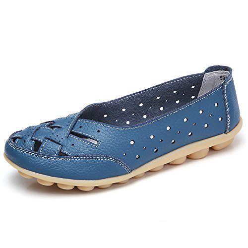(Women Shoes, Soft Lady Flats Sandal ✦◆HebeTop✦◆ Leather Ankle Casual Slipper Single Shoes Blue)
