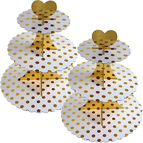 3-Tier White Cardboard with Gold Dot Cupcake Stand/Tower 2-Set (Gold - Tier Dot