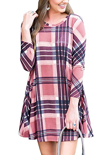 Womens Loose Fit Long Sleeve Flowy Plaid Printed Casual Midi Dress with Pocket Pink XL