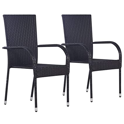 Fantastic Vidaxl 2X Outdoor Stacking Dining Chairs Poly Rattan Black Machost Co Dining Chair Design Ideas Machostcouk