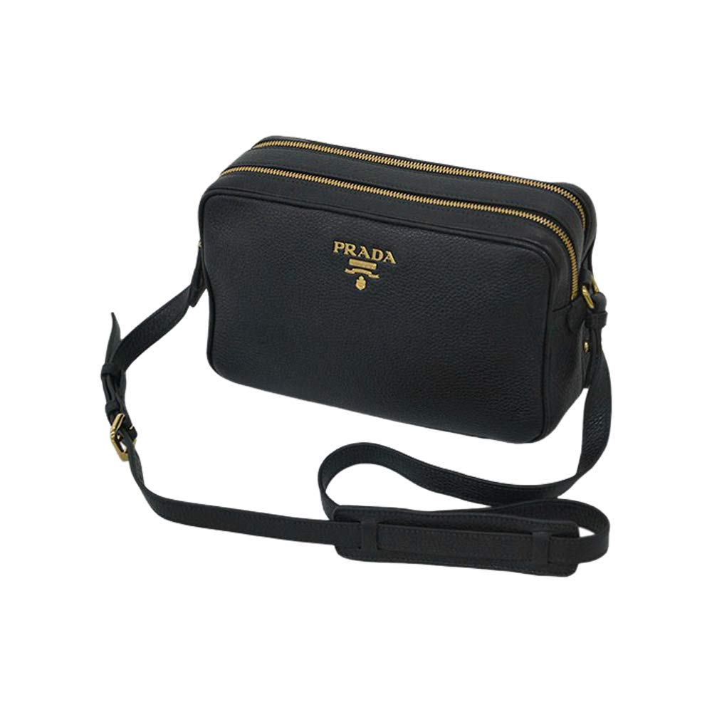 Prada Women s Black Bandoliera Vitello Phenix Leather Crossbody Bag 1BH079 1692240fc9