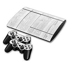Sony PS3 Playstation 3 Super Slim Skin Design Foils Faceplate Set - White Wood Design