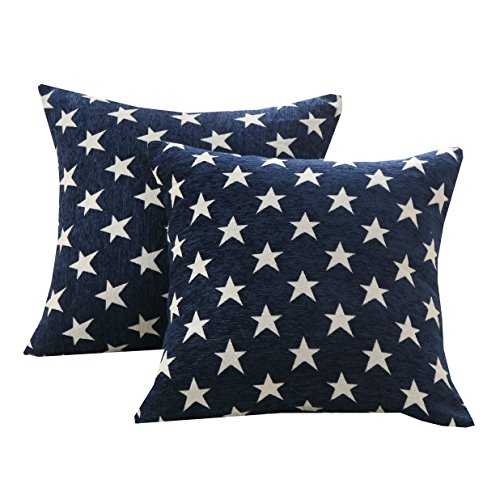 Star Toss Pillow - Sunday Praise Set of 2,Soft Chenille Decorative Throw Pillow Cover Case Geometric Stars Pattern Design Accent Square Cushion Cover Case Sham for Couch Sofa Bed Car 18 x 18 Inch 45x45cm (Blue)