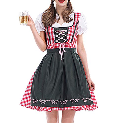 Women's German Oktoberfest Costume Adult Dirndl Traditional Bavarian Beer Carnival Halloween Fraulein Cosplay Maid Dress Outfit (Red Plaid, XL)]()