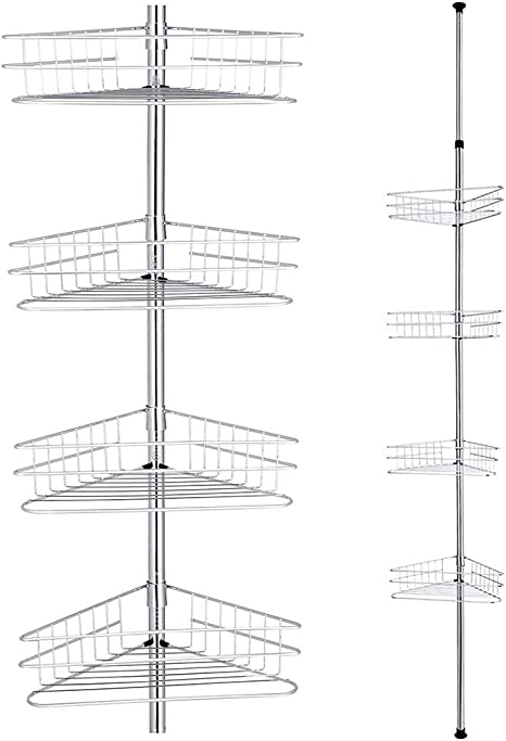 Aquaterior 4 Tier Metal Bathroom Telescopic Corner Shower Shelf Caddy Pole Wall Rack Storage Organizer Soap Holder Silver Furniture Decor