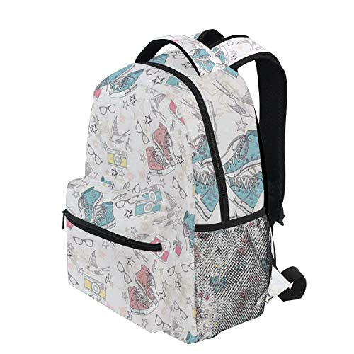 Birds Footwear - KVMV Youthful Teenager Grunge Pattern with Sneakers Photo Cameras Glasses Birds and Stars Lightweight School Backpack Students College Bag Travel Hiking Camping Bags