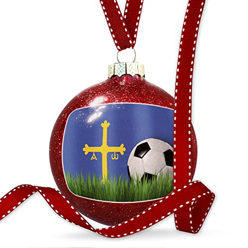 Christmas Decoration Soccer Team Flag Asturias region Spain Ornament by NEONBLOND