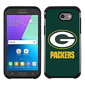 For Samsung Galaxy J3 Emerge / J3 Mission / J3 Eclipse / J3 2017 Green Bay Packers Textured Two Layer Case