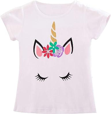 TTYAOVO Camiseta de Algodón Unicornio para Niñas, Camiseta de Manga Corta de Verano para Niños Camiseta de Impresión de Fiesta de Cumpleaños Unicorn: Amazon.es: Ropa y accesorios