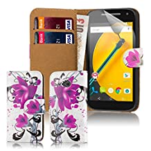32nd® Design book wallet PU leather case cover for Motorola Moto E (2nd Gen, released 2015) + screen protector and cleaning cloth - Purple Rose
