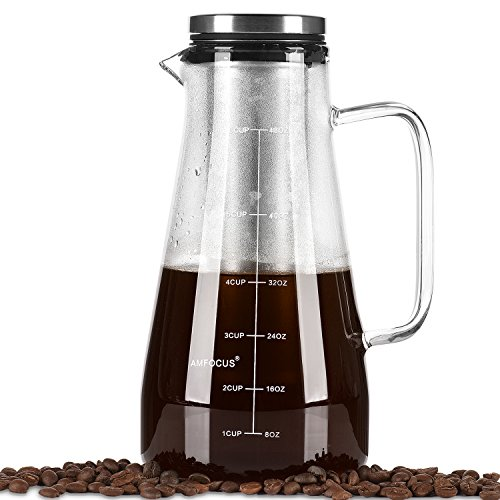 Cold Brew Coffee Maker -48 Ounce/1.5QT -Airtight Iced Coffee Maker -Glass Pitcher Fruit Infuser Carafe with Reusable Fine Mesh Filter-Perfect For Homemade Iced Coffee and Tea Brewer-Dishwasher Safe