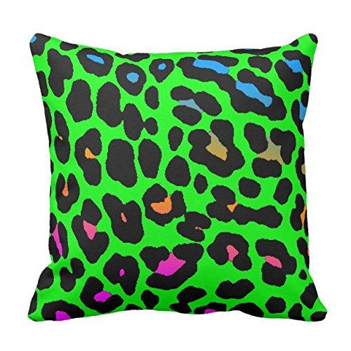 HGOD DESIGNS Throw Pillow Case Corey Tiger 80s Vintage Neon Leopard Print Throw Pillow Cotton Linen Square Cushion Cover Standard Pillowcase Home Decorative 18 x 18 inch Corey Tiger