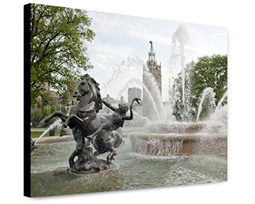 Canvas Print 20x24: Water Fountain Near The Plaza Shopping Mall, Kansas - Plaza Kansas City The
