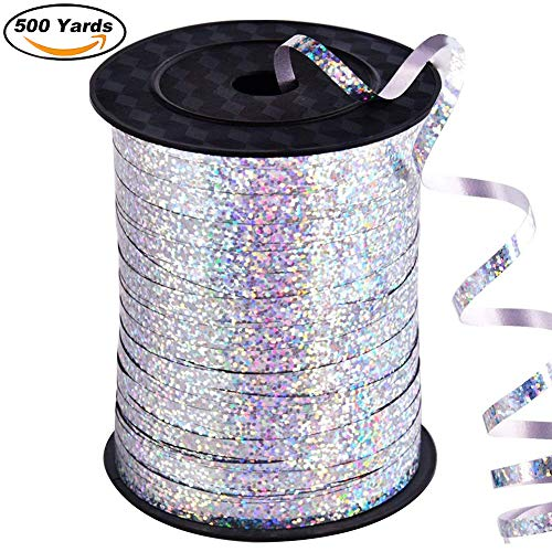 500 Yard Balloon Curling Ribbon Crimped Ribbon Roll Balloons String for Party Wedding Festival Decoration Gift Wrapping etc (Laser -