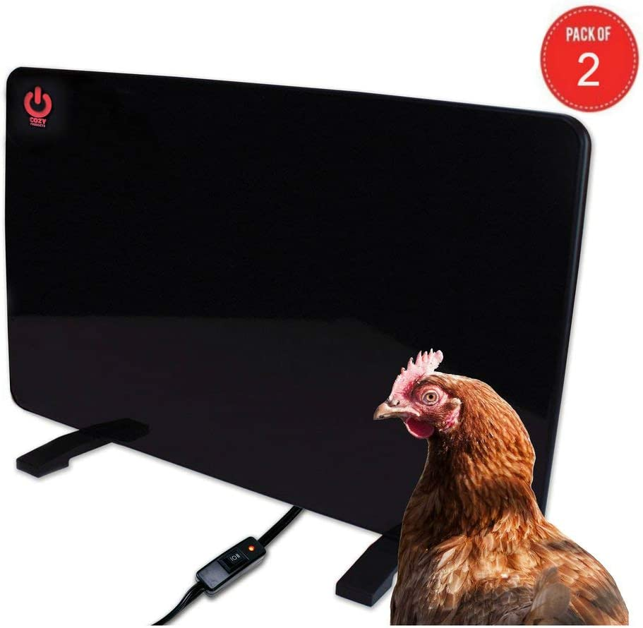 Cozy Products Safe Chicken Coop Pet Heater 200W Flat Panel Technology, One Size, Black Pack of 2