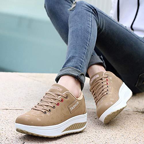 Aumento Mujeres Zapatos Casual Caminar as Zapato Swing Pisos Mujer Deporte Moda Caqui cu Altura T448a5wqx