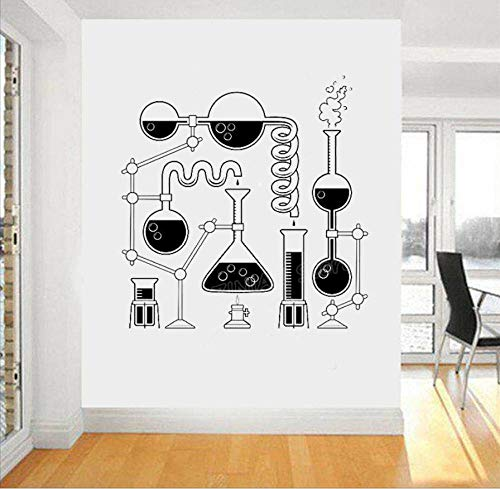 wsydd Science Beakers Wall Art Stickers for Bedroom Removable Funny Education Decals Scientist Chemistry Vinyl Decal Wallpaper 56X57cm (Holz 4 Sie)