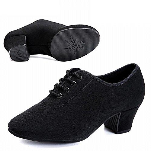 de BYLE 3cm Fondo Baile Modern Zapatos de de de Profesores Negro Cuero Jazz Baile tendones Piso Adultos Onecolor Blando de Vaca de Baile Samba Latino de con Tobillo Sandalias Zapatos ZPrTZ
