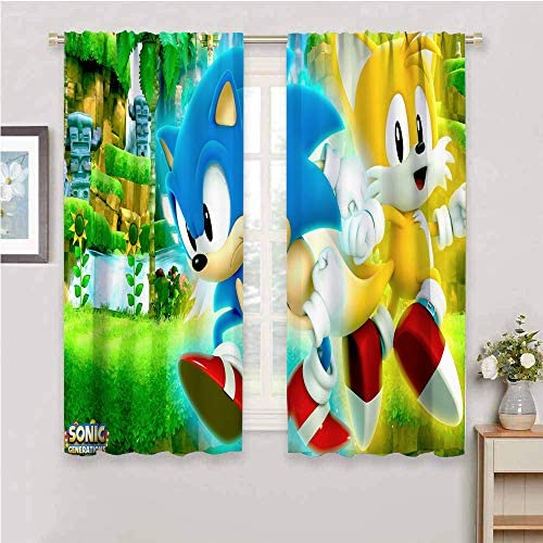 Sonic The Hedgehog Premium Blackout Curtains Curtains 84 inch Length Sonic Generations 2020 Movie Room Darkened W84 x L84 Inch