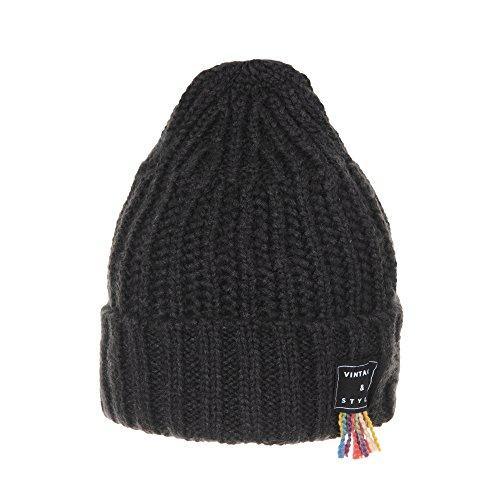 Hat Beanie Ribbed Vintage WITHMOONS Gorros CR5478 de Carbón Rainbow Punto Knit Patch Thread WYXYrw