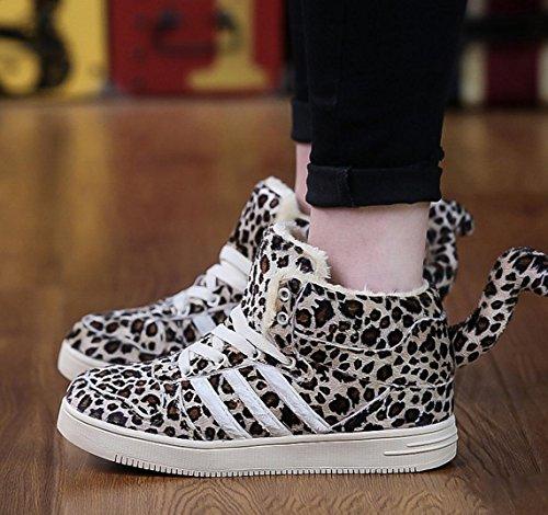 WZG El alto-top amantes de la moda zapatos de la marea nueva pareja de cola de leopardo, zapatos, zapatos de algodón de la personalidad única Leopard