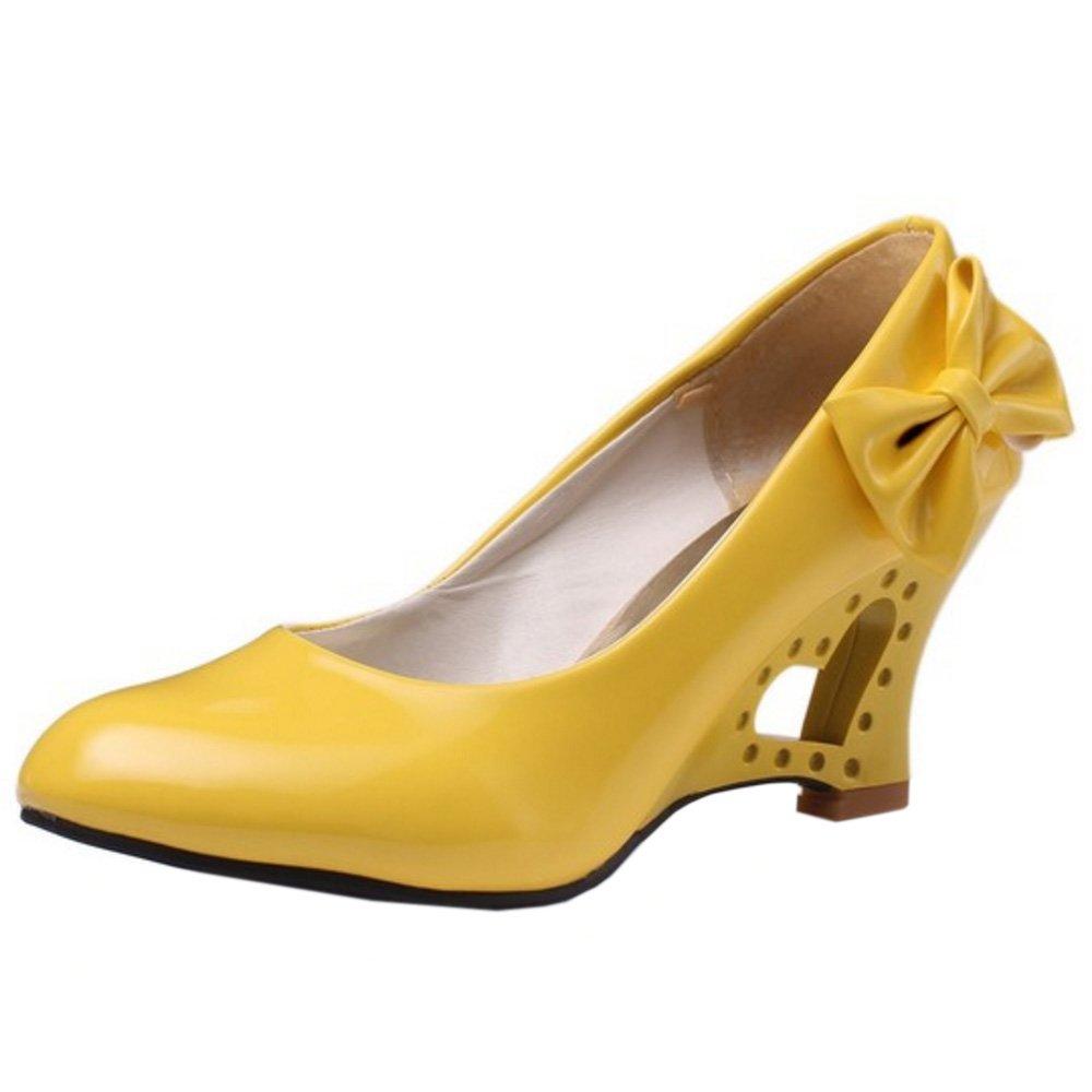 FANIMILA Women Fashion Slip On Strange Heel Pumps With Bowknot B0746H3XDW 9.5 B(M)US = 25.5 CM|Yellow