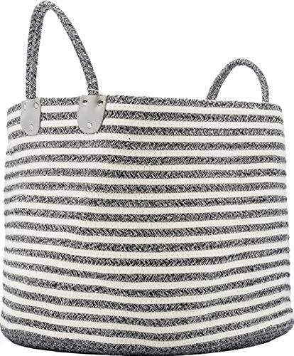 XXL Large Cotton Rope Storage Basket 19.6 x 19.6 x 13 - Decorative Gray Rope Storage Basket - For Baby Room Kids Children Toys Clothes Laundry Pillows Blankets Socks Items Nursery - Extra Large Basket ()
