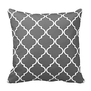 Chevron Pattern - Dark Gray and White Moroccan Quatrefoil Design Throw Pillow Classic Stripes Pattern For Decoration Pillow Case Zipper Pillow Cover Brief Design Pillowcase Cover