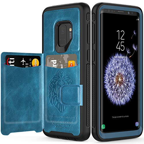 Galaxy S9 Wallet Case, Samsung S9 Wallet Case with Card Holder Slots Shockproof Protective Case for Samsung Galaxy S9 5.8 inch (2018) [Blue+Black]