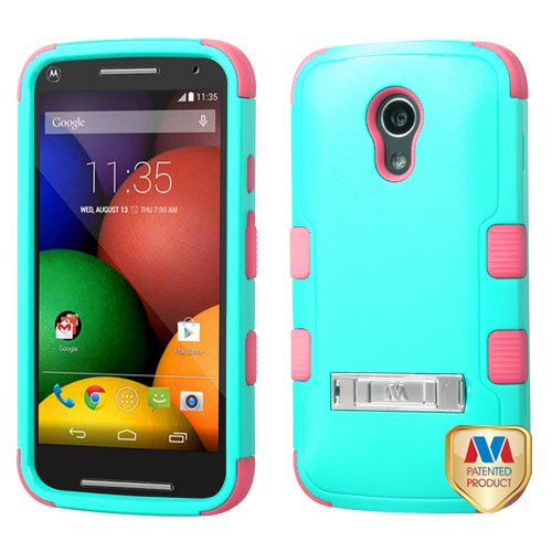 Price comparison product image Asmyna TUFF Hybrid Phone Protector Cover (with Stand) for MOTOROLA XT1064-Moto G 2nd Gen - Retail Packaging - Natural Teal Green/Electric Pink