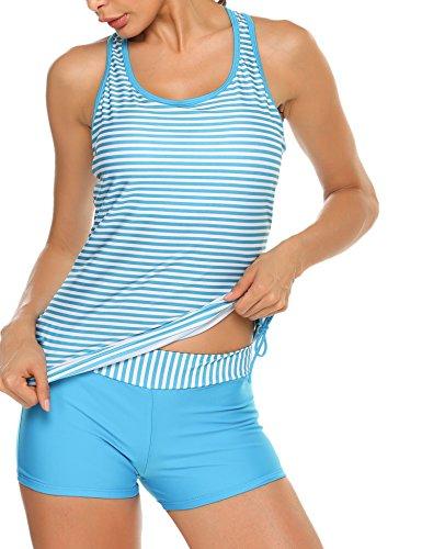 Avidlove Women's Adjustable Tie Tankini Core Solid Boyshort