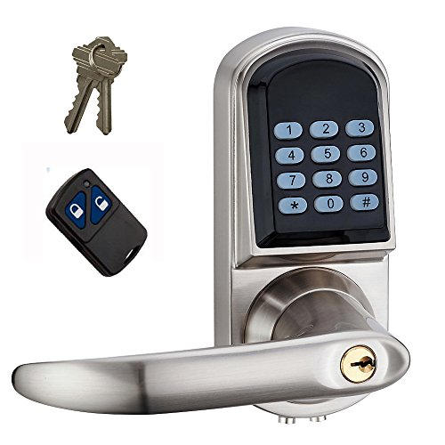 HAIFUAN Left Hand Electronic Keyless Code Door Lock,Unlock With Code,Remote control, And Mechanical (Remote Keyless Door Lock)