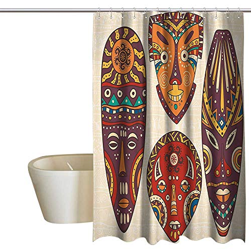 SKDSArts Shower Curtains Fabric Pastel Colors Tiki Bar Decor,Decorative Mask Designs African Aborigine Art Patterns Cultural Ethnic Print,Multicolor 60