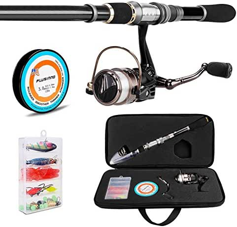 PLUSINNO Telescopic Fishing Rod and Reel Combos FULL Kit, Spinning Fishing Gear Organizer Pole Sets with Line Lures Hooks Reel and Fishing Carrier Bag Case Accessories …