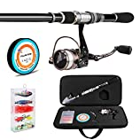 PLUSINNO Telescopic Fishing Rod and Reel Combos FULL Kit, Spinning Fishing Gear Organizer Pole Sets with Line Lures Hooks Reel and Fishing Carrier Bag Case Accessories ...