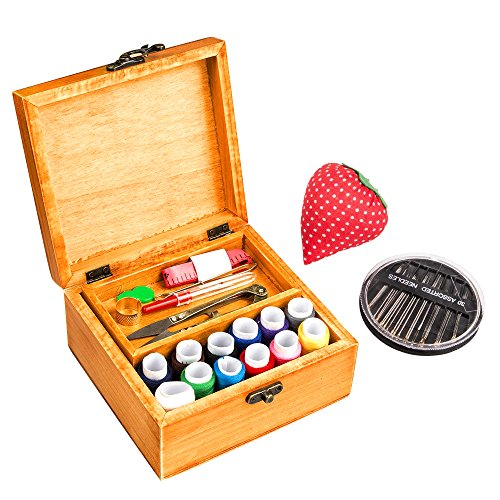 MissLytton Wooden Sewing Box with Sewing Kit Accessories, Hand Beginner Small Sewing Starter Kit, Portable Simple Home Sew Basket Kit, a Great Gift for Kids Teens Adults